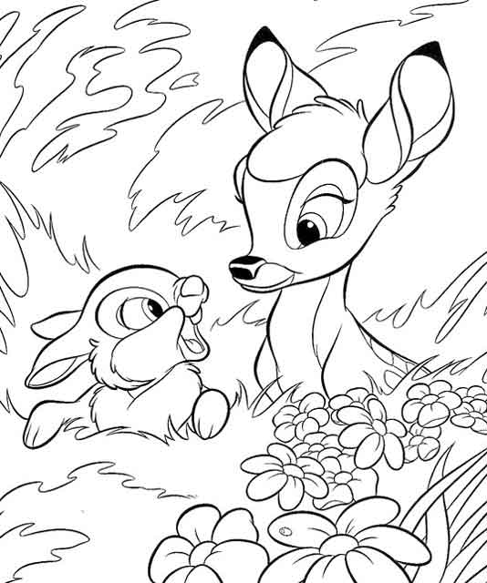 Bambi walt disney for Coloring pages bambi